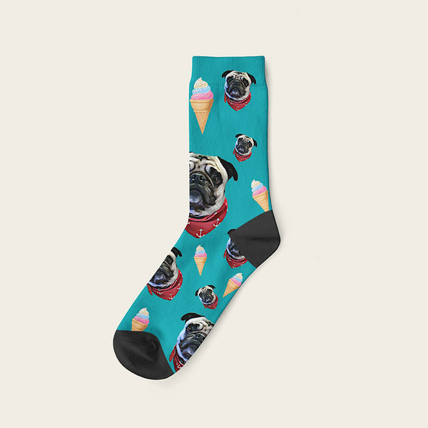Custom Dog Socks Icecream Crew / Teal
