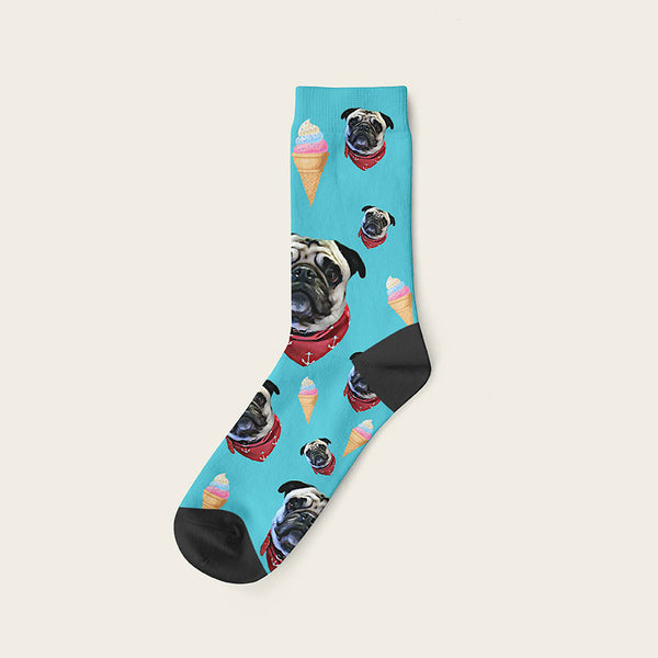 Custom Dog Socks Icecream Crew / Turquoise