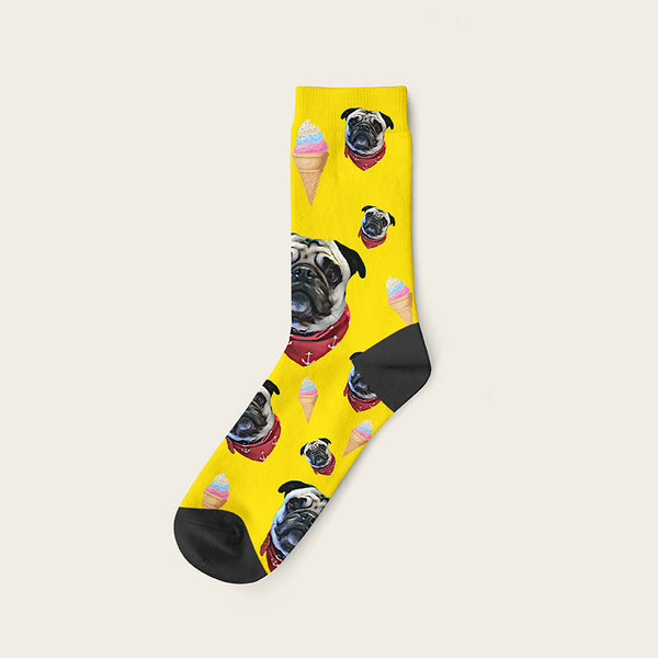 Custom Dog Socks Icecream Crew / Yellow