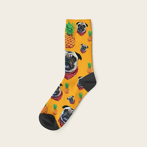 Custom Dog Socks Pineapple Crew / Orange