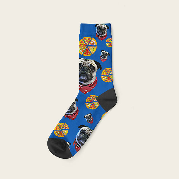 Custom Dog Socks Pizza Crew / Blue