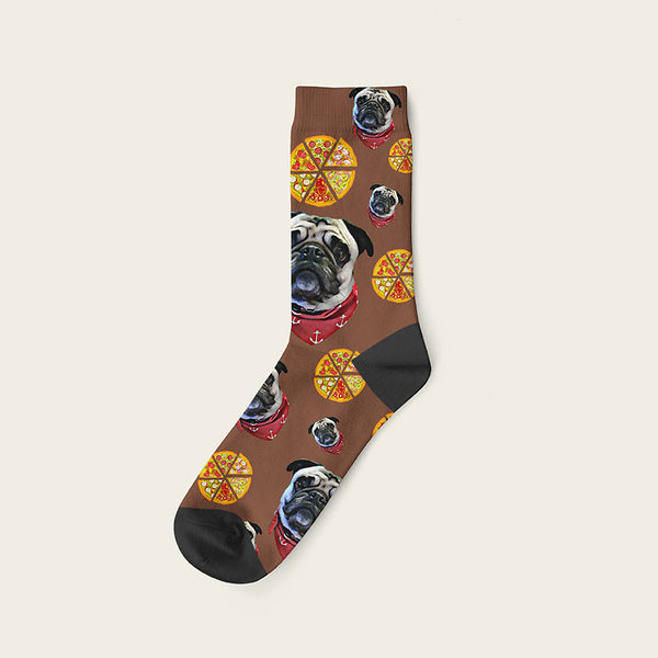 Custom Dog Socks Pizza Crew / Brown