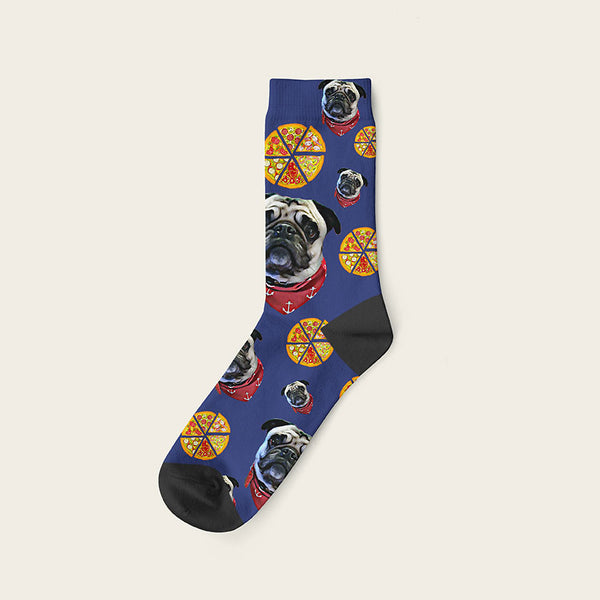 Custom Dog Socks Pizza Crew / Navy