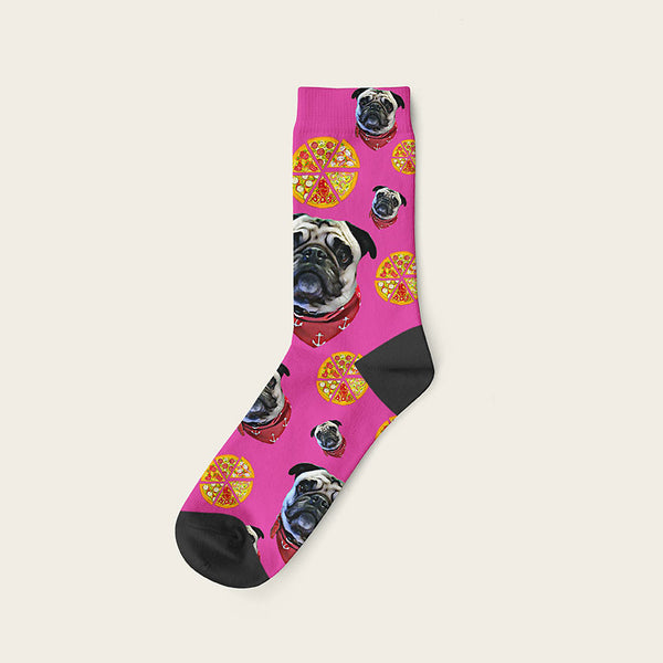 Custom Dog Socks Pizza Crew / Fuchsia