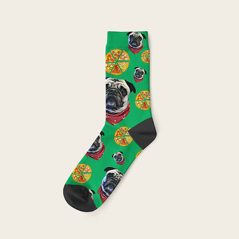 Custom Dog Socks Pizza Crew / Green