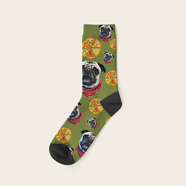Custom Dog Socks Pizza Crew / Olive