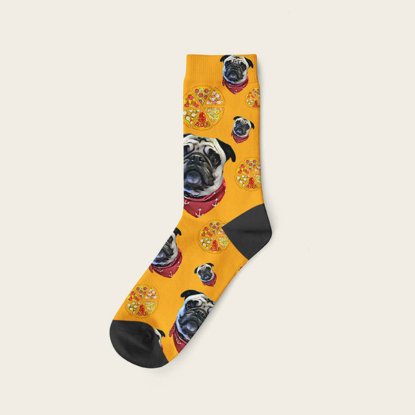Custom Dog Socks Pizza Crew / Orange