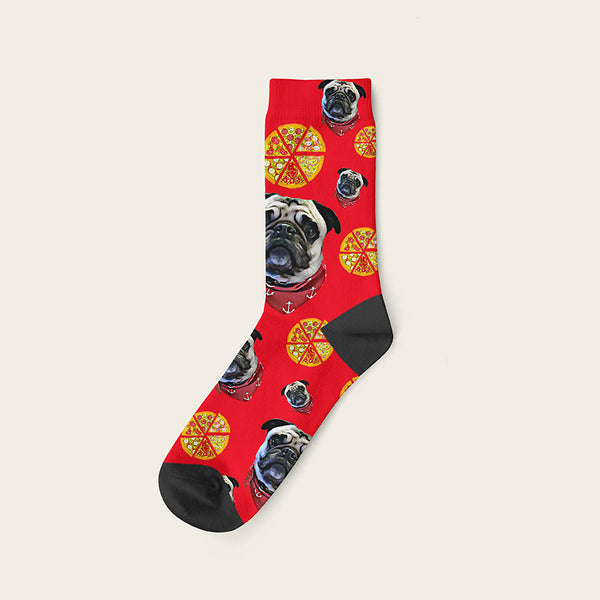 Custom Dog Socks Pizza Crew / Red