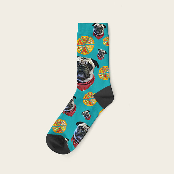 Custom Dog Socks Pizza Crew / Teal