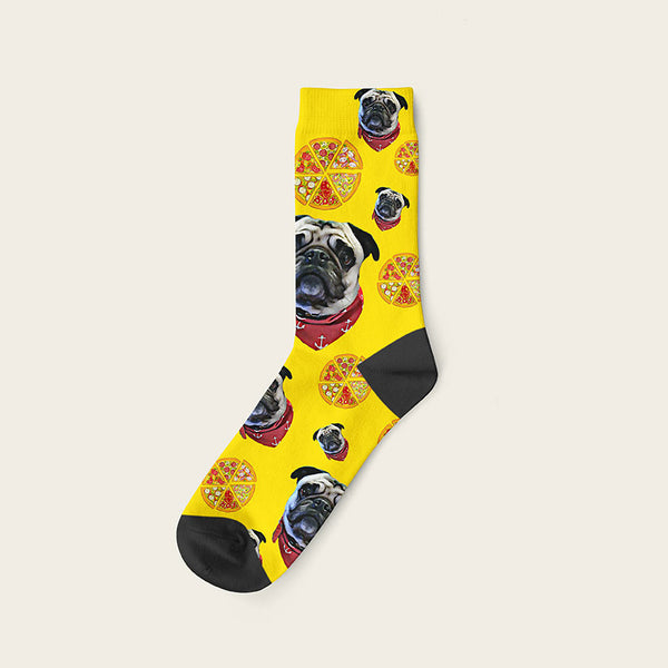 Custom Dog Socks Pizza Crew / Yellow
