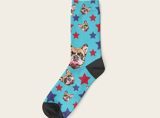 Custom Dog Socks Stars Crew / Turquoise