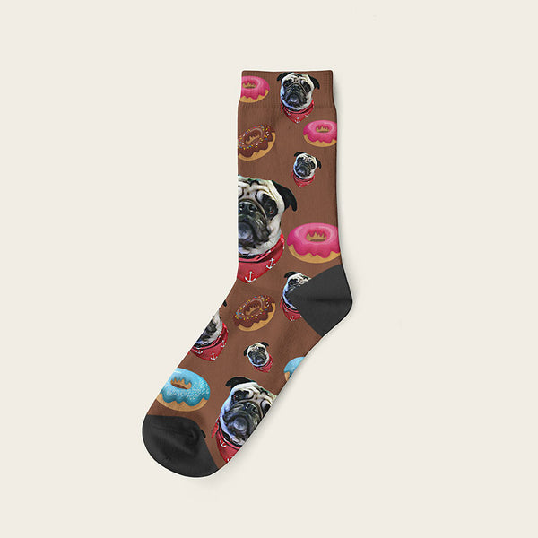 Custom Dog Socks Yummy Donuts Crew / Brown