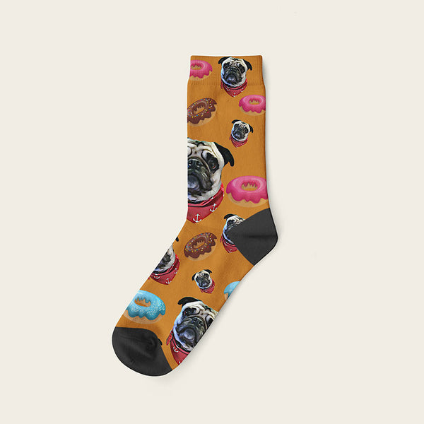 Custom Dog Socks Yummy Donuts Crew / Beige