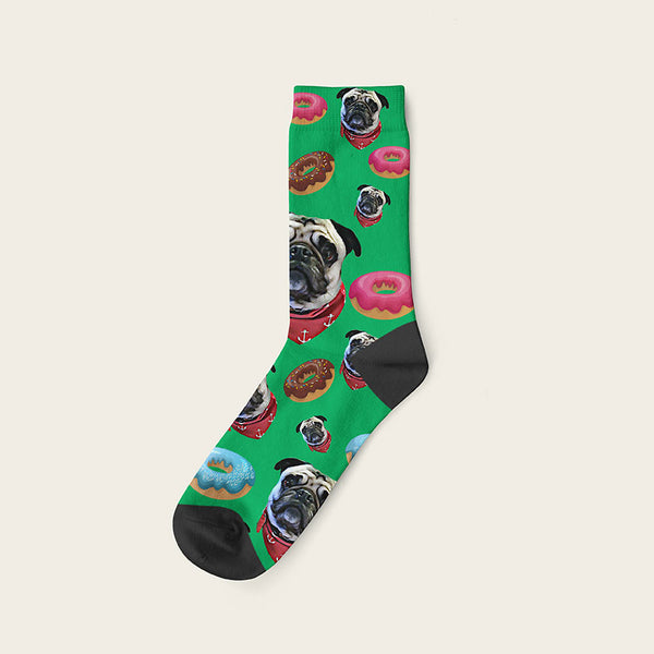 Custom Dog Socks Yummy Donuts Crew / Green