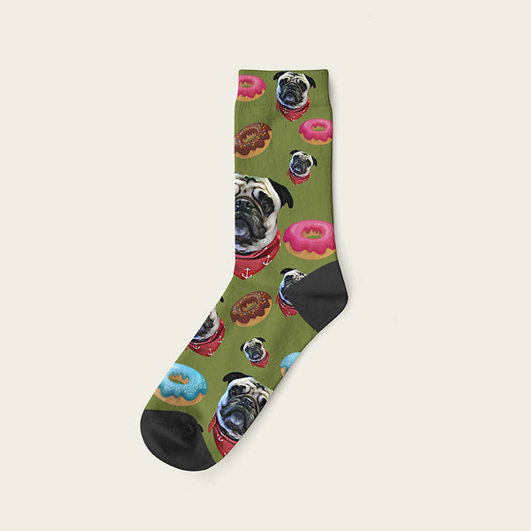 Custom Dog Socks Yummy Donuts Crew / Olive