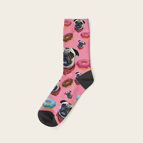 Custom Dog Socks Yummy Donuts Crew / Pink