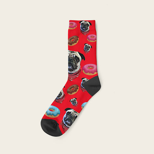 Custom Dog Socks Yummy Donuts Crew / Red