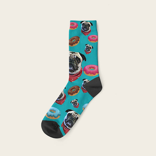 Custom Dog Socks Yummy Donuts Crew / Teal