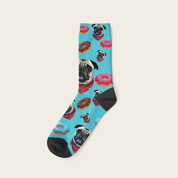 Custom Dog Socks Yummy Donuts Crew / Turquoise