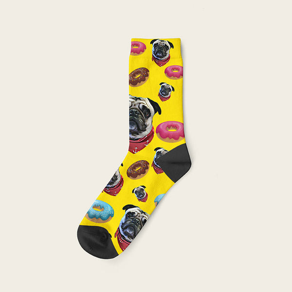 Custom Dog Socks Yummy Donuts Crew / Yellow