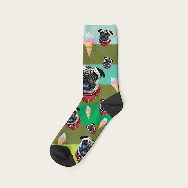 Custom Rainbow Socks With Ice Cream And Your Dog Picture Crew / Green Custom Rainbow