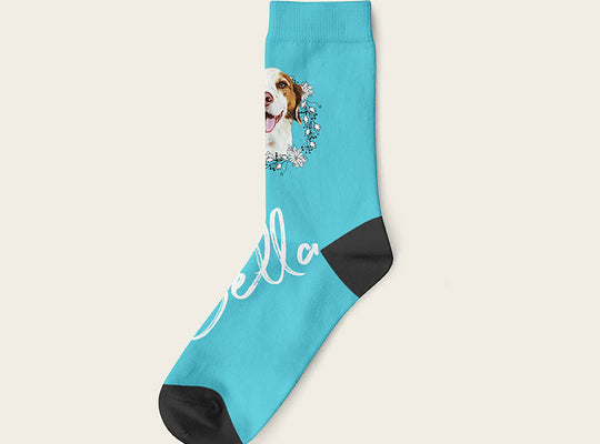 Custom Dog Socks With Frame - Bella Crow Socks Crew / Turquoise
