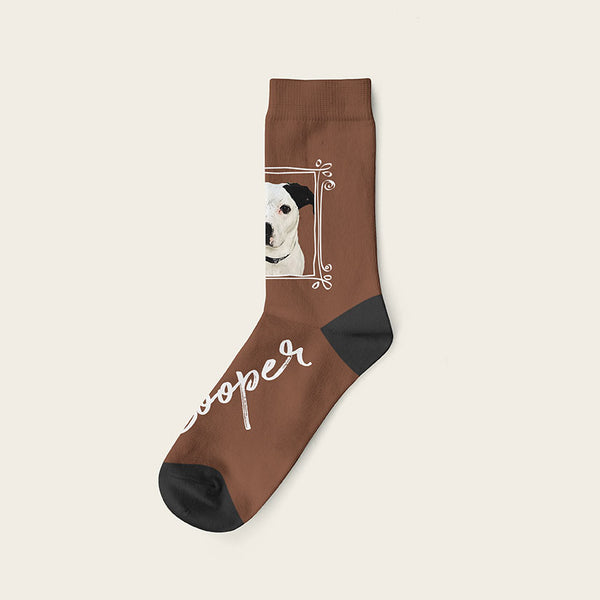 Custom Dog Socks With Frame - Cooper Crow Socks Crew / Brown