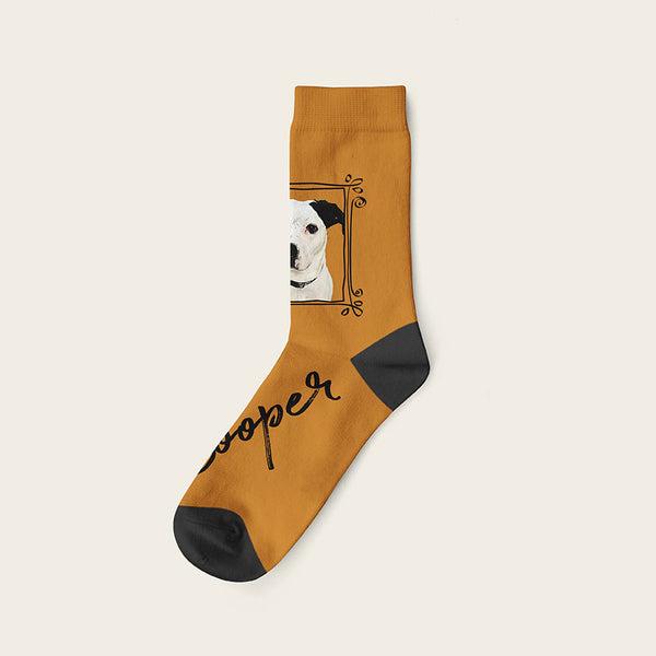 Custom Dog Socks With Frame - Cooper Crow Socks Crew / Beige