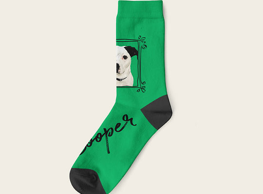Custom Dog Socks With Frame - Cooper Crow Socks Crew / Green