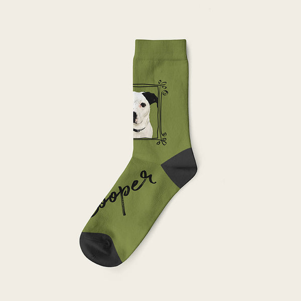 Custom Dog Socks With Frame - Cooper Crow Socks Crew / Olive