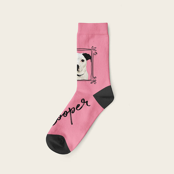 Custom Dog Socks With Frame - Cooper Crow Socks Crew / Pink