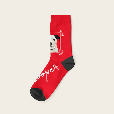 Custom Dog Socks With Frame - Cooper Crow Socks Crew / Red