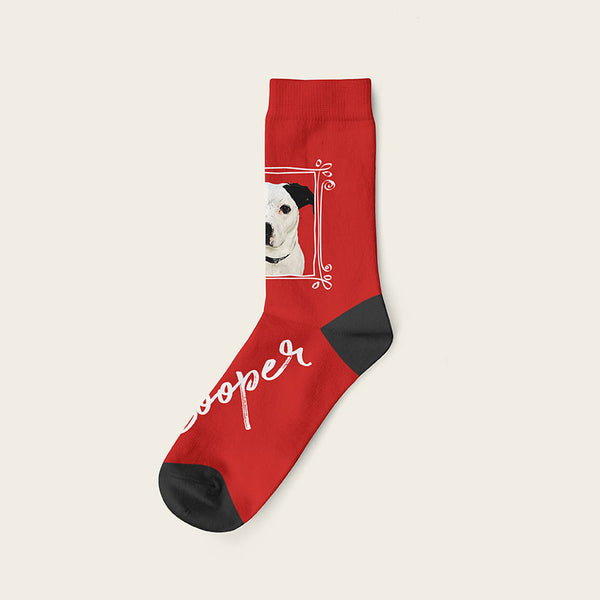 Custom Dog Socks With Frame - Cooper Crow Socks Crew / Maroon