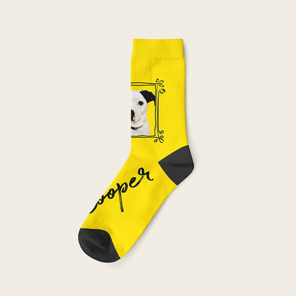 Custom Dog Socks With Frame - Cooper Crow Socks Crew / Yellow
