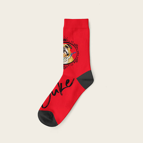 Custom Dog Socks With Frame - Duke Crow Socks Crew / Red