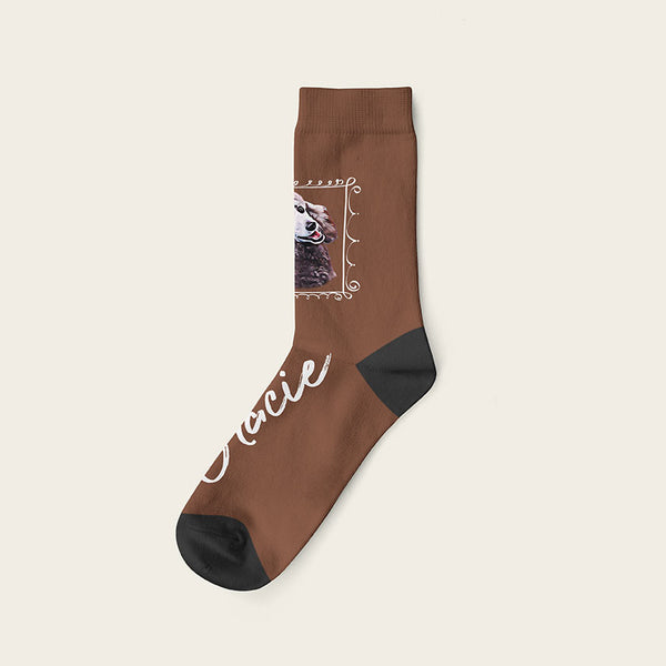 Custom Dog Socks With Frame - Gracie Crow Socks Crew / Brown
