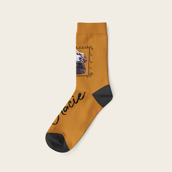 Custom Dog Socks With Frame - Gracie Crow Socks Crew / Beige