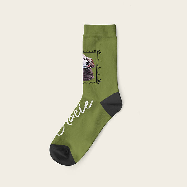 Custom Dog Socks With Frame - Gracie Crow Socks Crew / Olive