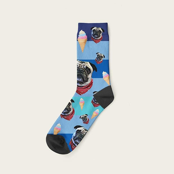 Custom Rainbow Socks With Ice Cream And Your Dog Picture Crew / Blue Custom Rainbow