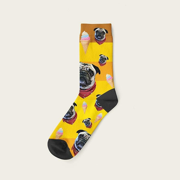 Custom Rainbow Socks With Ice Cream And Your Dog Picture Crew / Yellow Custom Rainbow