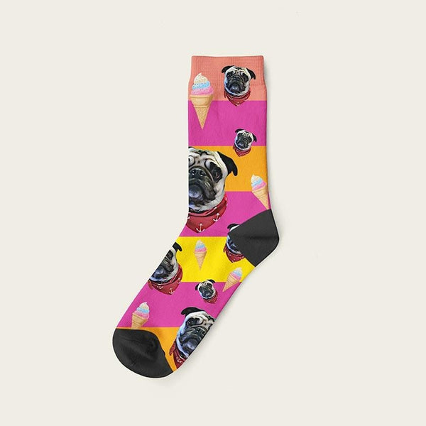 Custom Rainbow Socks With Ice Cream And Your Dog Picture Crew / Pink Custom Rainbow