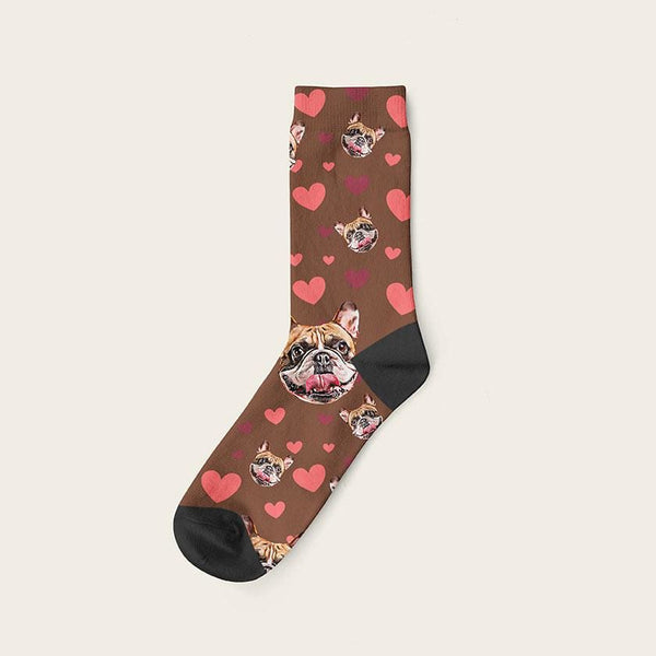 Custom Dog Socks Hearts Crew / Brown