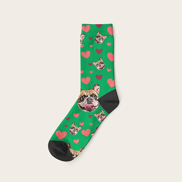 Custom Dog Socks Hearts Crew / Green