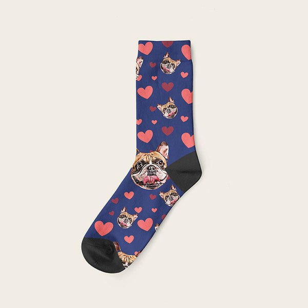 Custom Dog Socks Hearts Crew / Navy