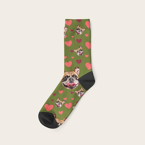 Custom Dog Socks Hearts Crew / Olive