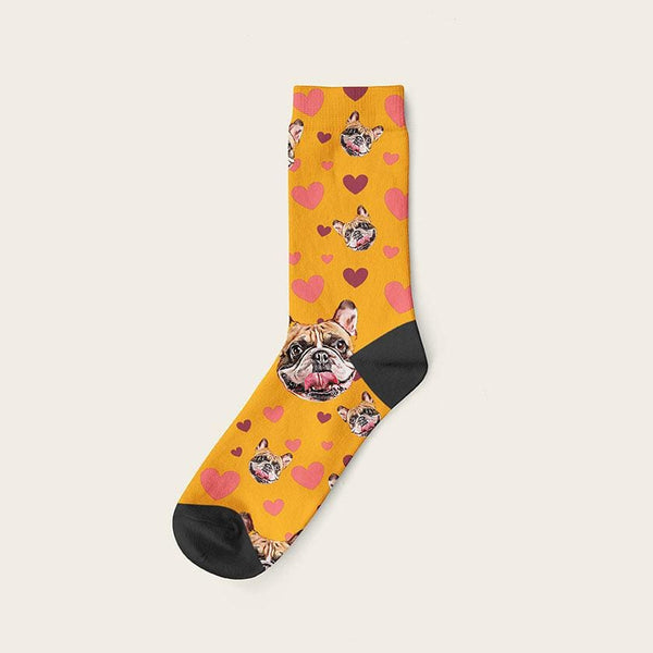 Custom Dog Socks Hearts Crew / Orange