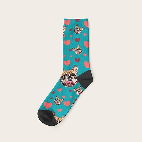 Custom Dog Socks Hearts Crew / Teal