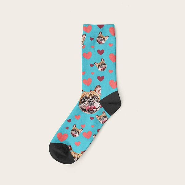Custom Dog Socks Hearts Crew / Turquoise