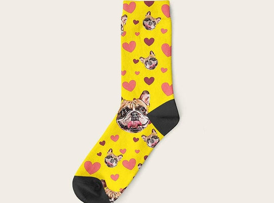 Custom Dog Socks Hearts Crew / Yellow