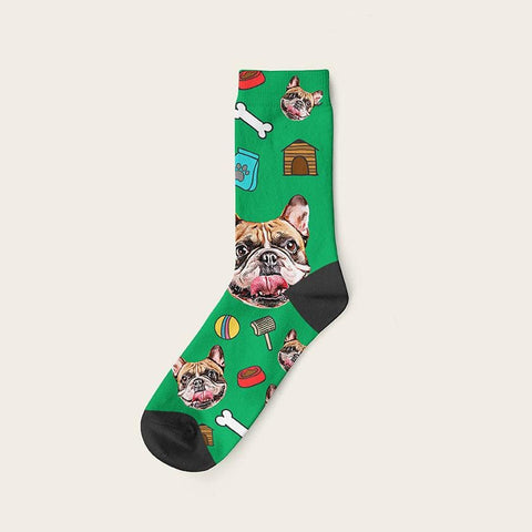 Custom Dog Socks Mashup Pattern and Your Dog Photo
